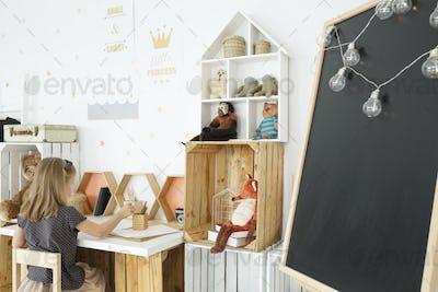 Nordic room with handmade desk