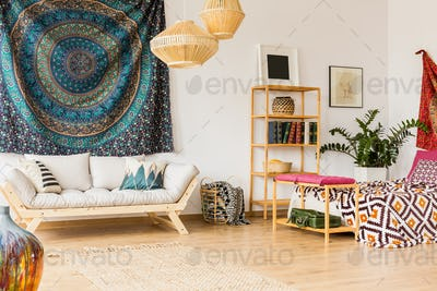 Spacious oriental bedroom