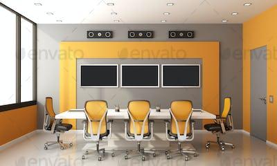 Gray and orange modern boardroom