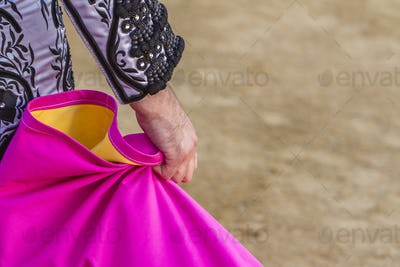 Spanish Bullfighter with the Cape in the bullring, Spain