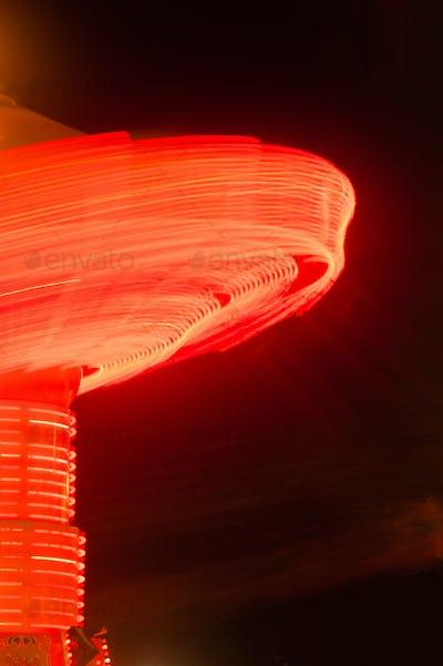 Local State Fair Carnival Ride Long Exposure Red Streaks