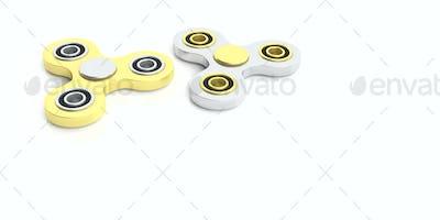 Fidget spinners on white background. 3d illustration