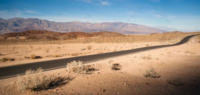Panoramic View Open Road Death Valley National Park Highway