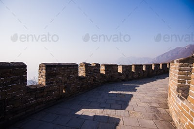 the great china wall with sunset glow