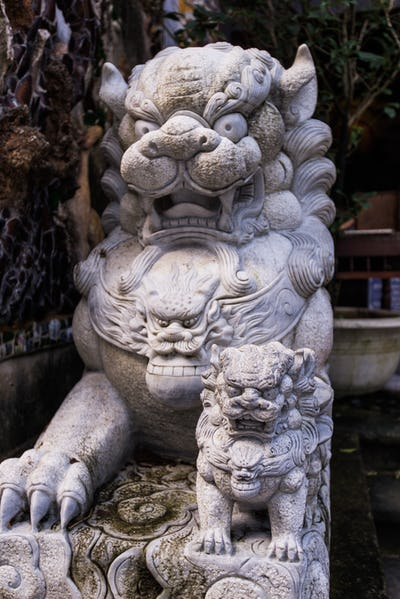 Lion stone statue, asian architecture at Vietnam.