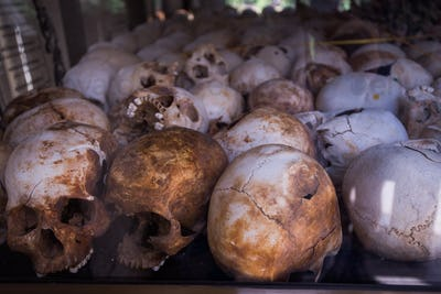 Human bones and skulls in tomb in Cambodia death fields