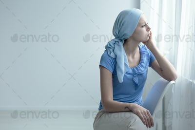 Woman with oncology disease