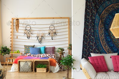 Dreamcatchers above the bed
