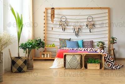 Creatively decorated bedroom