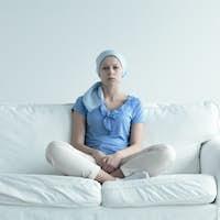 Woman suffering for alopecia