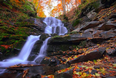 Beautiful waterfall in forest at sunset