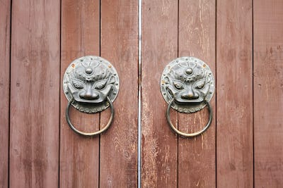traditional wooden door closeup