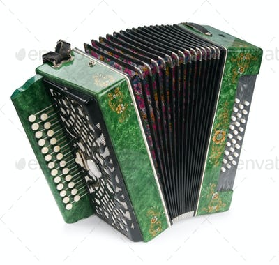 Green Accordion, isolated on white background
