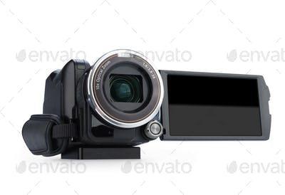 Digital video camera isolated on white background. Screen has a