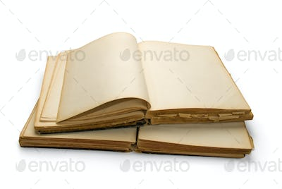 Open ancient book with blank pages, isolated on white background