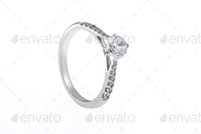 Silver Engagement Ring with Swarovski Crystals on White Background