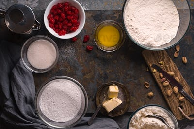 Ingredients for cannoli production of traditional Sicilian dessert