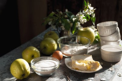 Ingredients for Apple pie tarte tatena diagonal