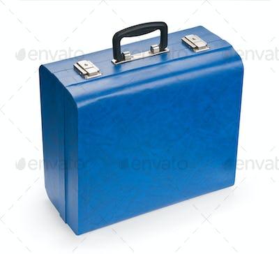 Blue suitcase, isolated on white background