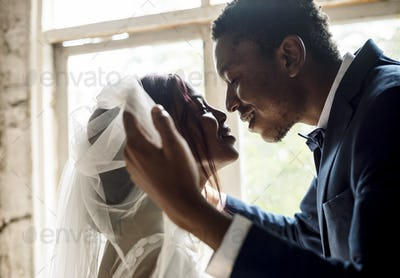 Newlywed African Descent Groom Open Bride Veil Wedding Celebrati