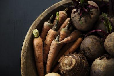 Closeup of various beetroot vegetable in wooden basket