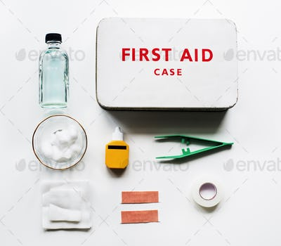 Aerial view of first aid case on white table