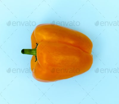 Aerial view of fresh sweet peppers on blue background