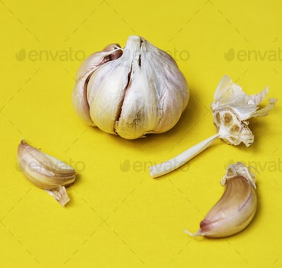 Closeup of garlic cloves on yellow background