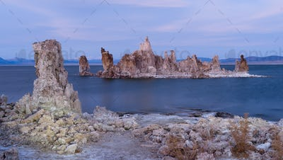 Rock Salt Tufa Formations Sunset Mono Lake California Nature Outdoors