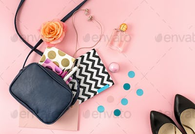 The top view of open woman bag