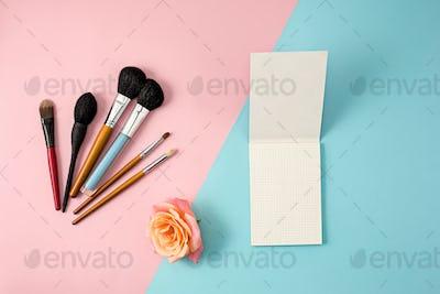 Make up brushes on colorful background