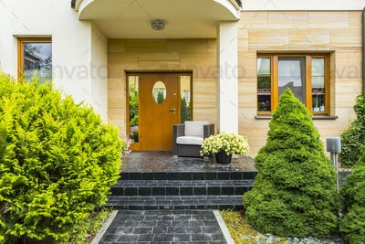 Stylish entrance to the modern house