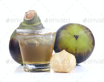 Toddy Palm,Palmyra palm,Palm juice of glass with ice on white ba