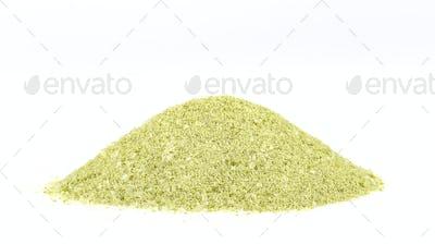 Tea powder on white background.
