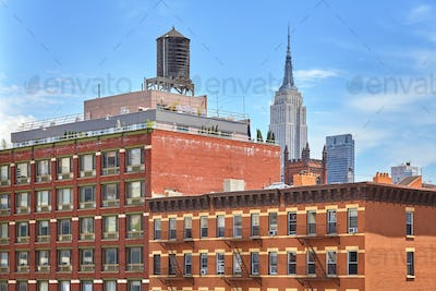 Rooftop water tank on a New York apartment building, USA