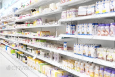 Medicine Products placed in Shelves at Pharmacy