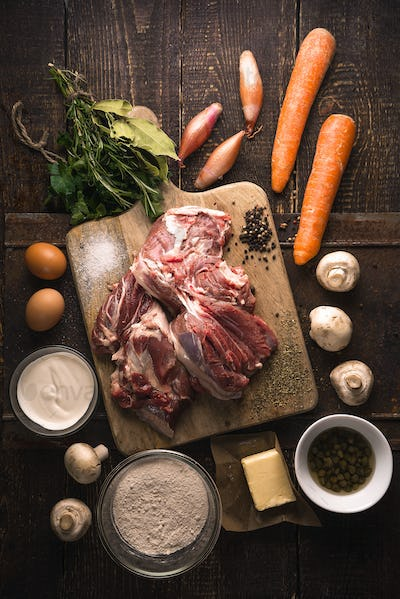 Ingredients for blanquette on the wooden table