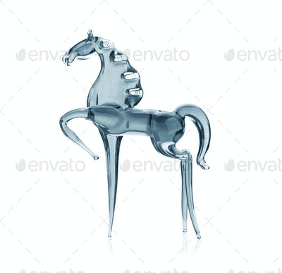 Horse out of the  glass, isolated on white background