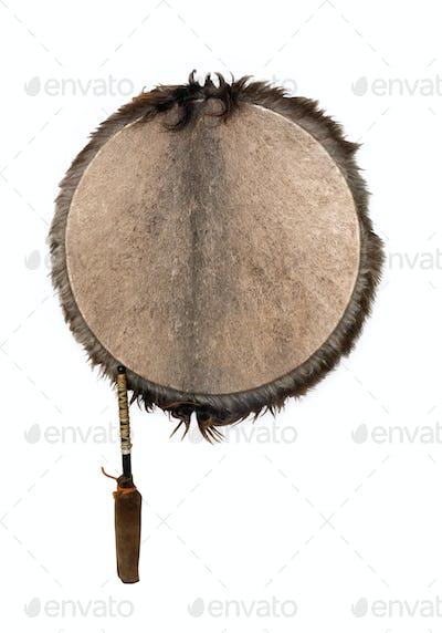 Ethnic tambourine, isolated on white background