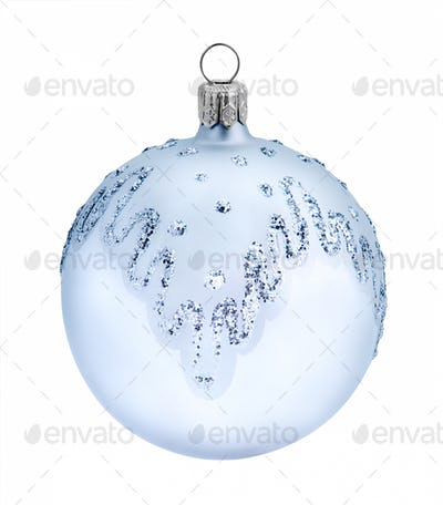 Christmas blue ball, isolated on white background
