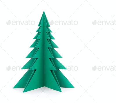 Green paper tree on a white background.  Clipping patch