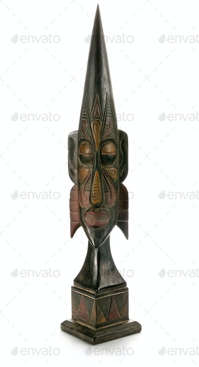 old wood figure, isolated on white background