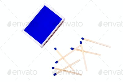 Blue matches on a white background