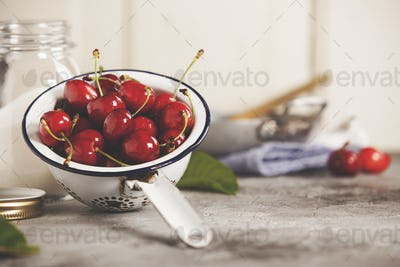 Ingredients for sweet cherry jam