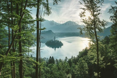 Aerial view of Bled lake in julian alps slovenia