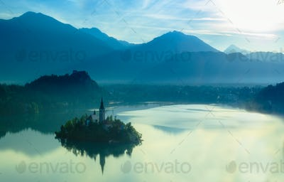 View of Bled lake in julian alps slovenia