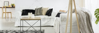 Couch with stylish pillows