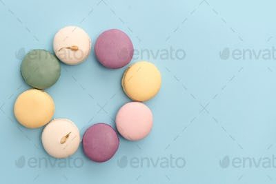 Eight sweet colorful macaroons