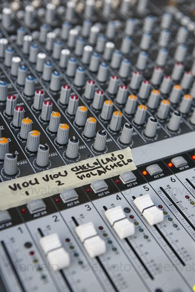 Mixing board panel equipment detail. Sound technology background. Vertical