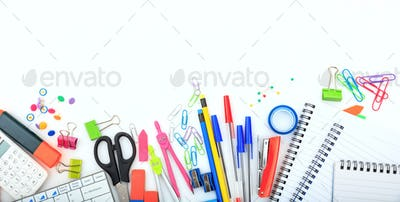 Office - school supplies on white background